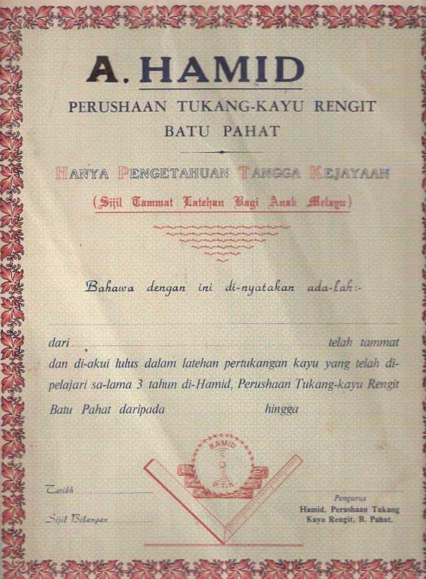 Hamid Perusahaan Tukang Kayu - Sijil Tamat Latihan